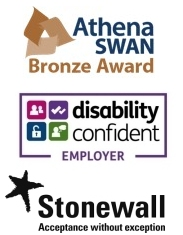 Athena Swan - Bronze Award, Disability Confident Employer, Stonewall Acceptance Without Exception