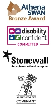 Athena Swan - Bronze Award, Disability Confident Employer, Stonewall Acceptance Without Exception, Armed Forces Covenant