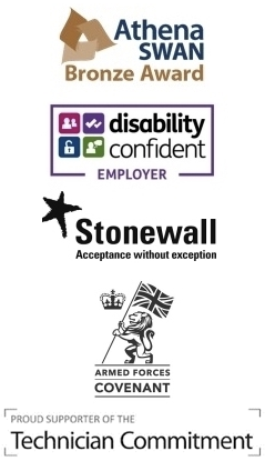 Athena Swan - Bronze Award, Disability Confident Employer, Stonewall Acceptance Without Exception, Armed Forces Covenant, Proud Supporter of the Technician Commitment